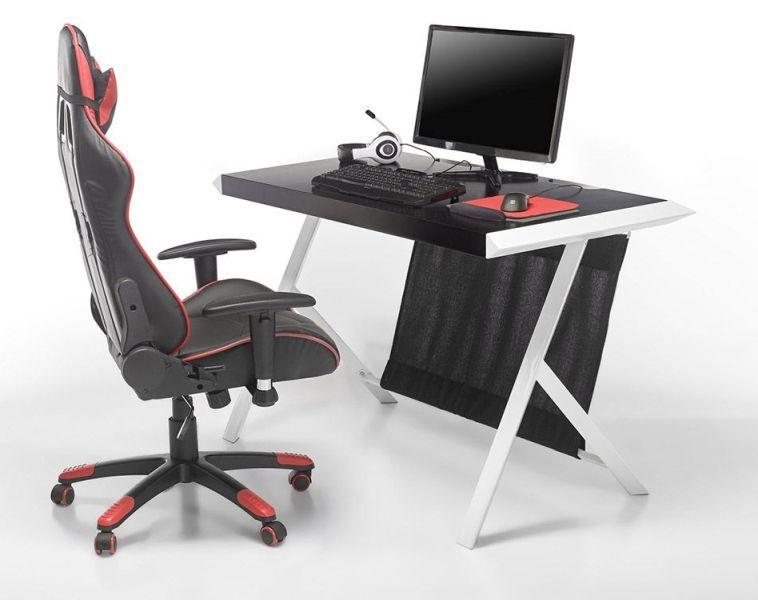 Fotel biurowy sportowy MC RACING 5 ekoskóra czarno czerwony