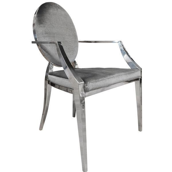 Nowoczesne Krzesło Chromowane Z Podłokietnikami Ft 83arm Glamour